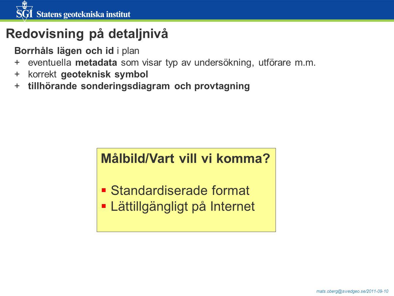 mats.oberg@swedgeo.se/2011-09-10 Redovisning på detaljnivå Borrhåls lägen och id i plan + eventuella metadata som visar typ av undersökning, utförare m.m.
