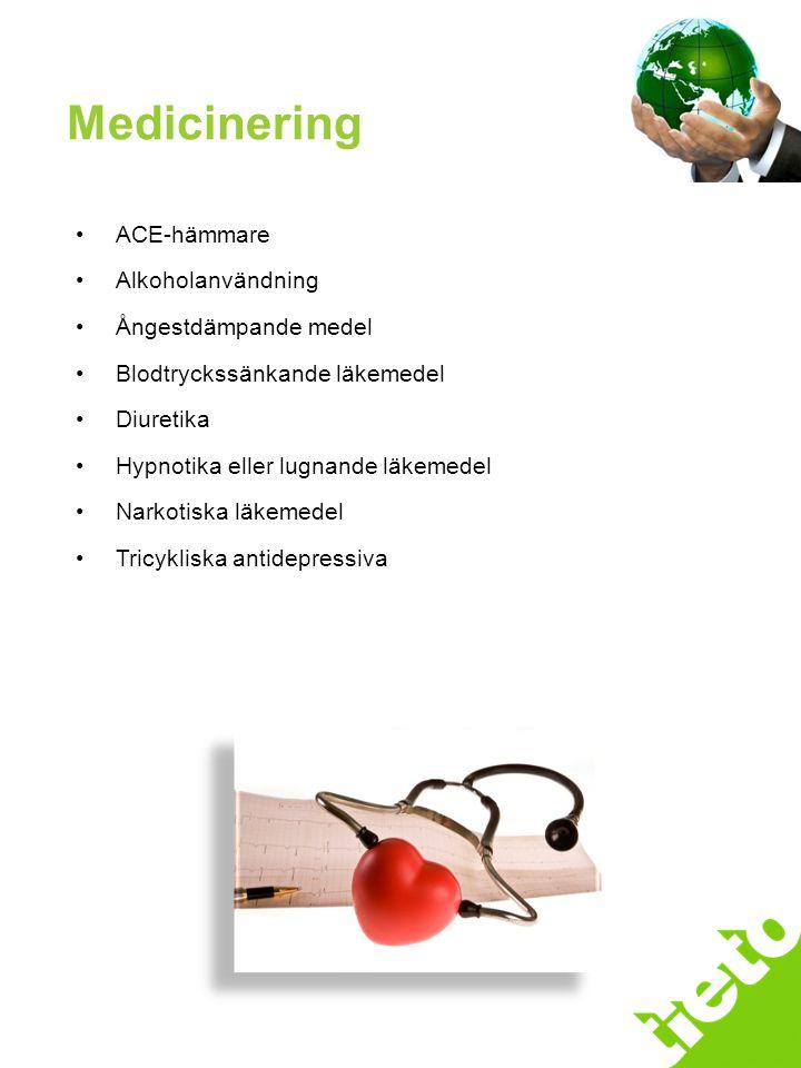 Handläggningsprocessen ACE-hämmare Alkoholanvändning Ångestdämpande medel Blodtryckssänkande läkemedel Diuretika Hypnotika eller lugnande läkemedel Na
