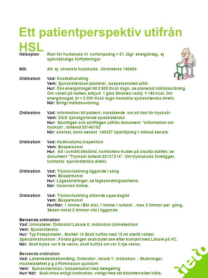 Ett patientperspektiv utifrån HSL HälsoplanRisk för hudskada r/t nortonpoäng < 21, lågt energiintag, ej självständiga förflyttningar MålAtt ej utveckl