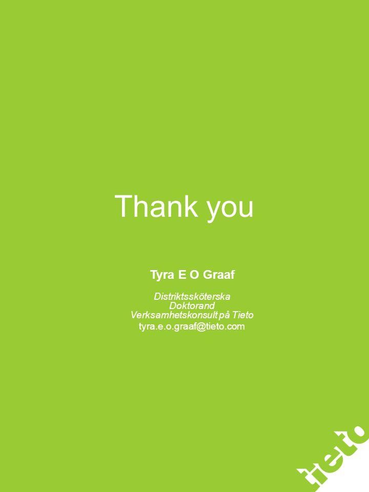 Thank you Tyra E O Graaf Distriktssköterska Doktorand Verksamhetskonsult på Tieto tyra.e.o.graaf@tieto.com