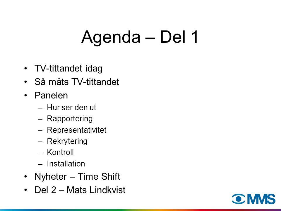 Agenda – Del 1 TV-tittandet idag Så mäts TV-tittandet Panelen –Hur ser den ut –Rapportering –Representativitet –Rekrytering –Kontroll –Installation Nyheter – Time Shift Del 2 – Mats Lindkvist
