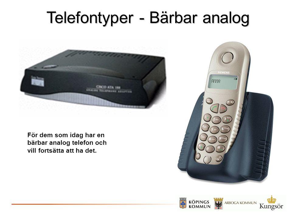 Telefontyper - Bärbar analog För dem som idag har en bärbar analog telefon och vill fortsätta att ha det.
