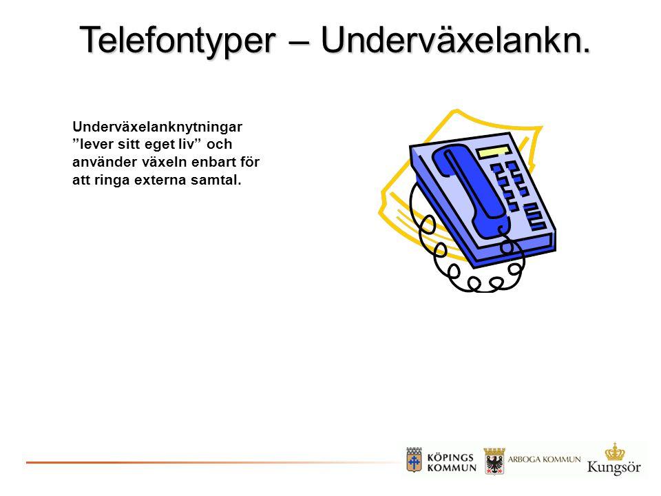 """Telefontyper – Underväxelankn. Underväxelanknytningar """"lever sitt eget liv"""" och använder växeln enbart för att ringa externa samtal."""