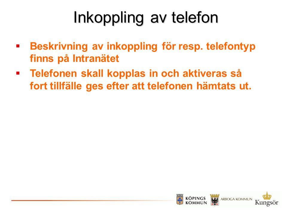 Inkoppling av telefon  Beskrivning av inkoppling för resp. telefontyp finns på Intranätet  Telefonen skall kopplas in och aktiveras så fort tillfäll