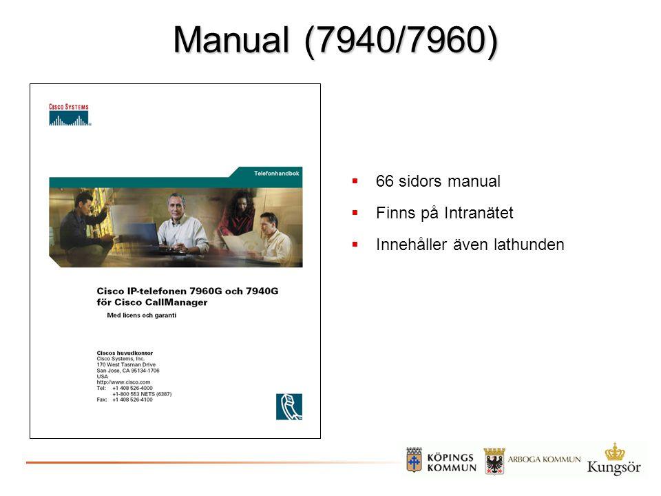 Manual (7940/7960)  66 sidors manual  Finns på Intranätet  Innehåller även lathunden