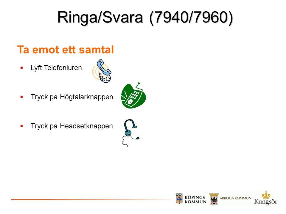 Ringa/Svara (7940/7960) Ta emot ett samtal  Lyft Telefonluren.  Tryck på Högtalarknappen.  Tryck på Headsetknappen.