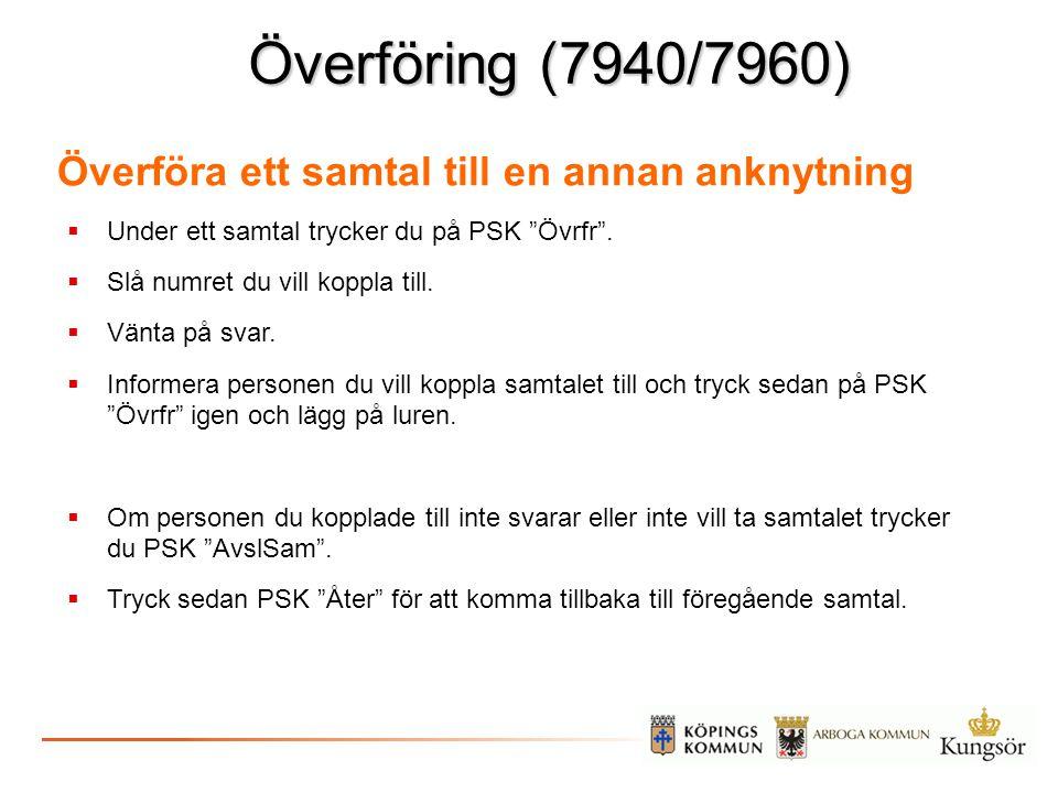 """Överföring (7940/7960)  Under ett samtal trycker du på PSK """"Övrfr"""".  Slå numret du vill koppla till.  Vänta på svar.  Informera personen du vill k"""