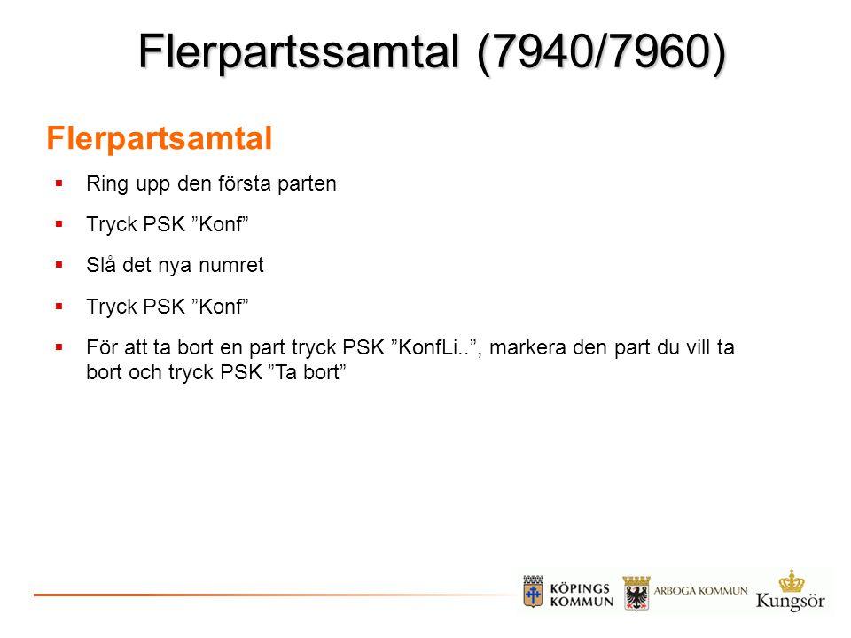 """Flerpartssamtal (7940/7960)  Ring upp den första parten  Tryck PSK """"Konf""""  Slå det nya numret  Tryck PSK """"Konf""""  För att ta bort en part tryck PS"""