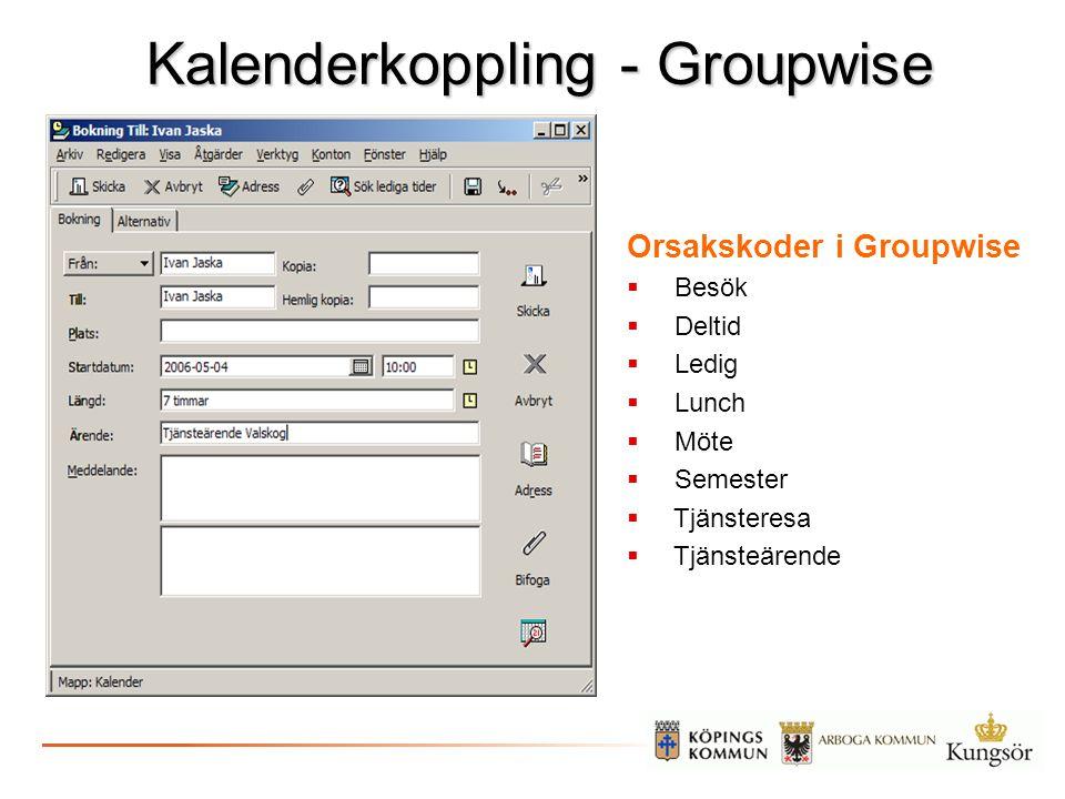 Kalenderkoppling - Groupwise Orsakskoder i Groupwise  Besök  Deltid  Ledig  Lunch  Möte  Semester  Tjänsteresa  Tjänsteärende