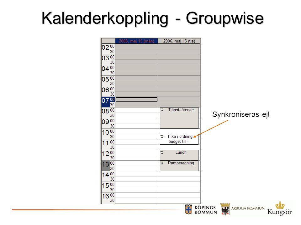 Kalenderkoppling - Groupwise Synkroniseras ej!