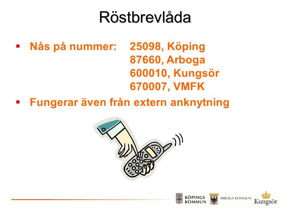 Röstbrevlåda  Nås på nummer:25098, Köping 87660, Arboga 600010, Kungsör 670007, VMFK  Fungerar även från extern anknytning