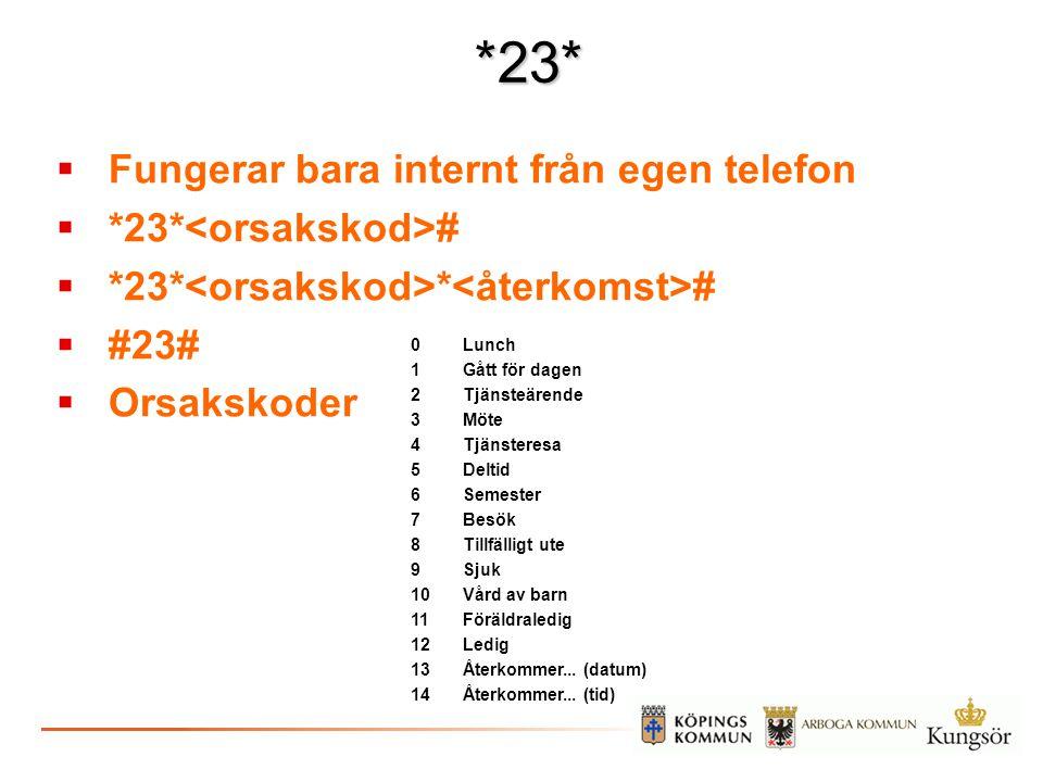 *23*  Fungerar bara internt från egen telefon  *23* #  *23* * #  #23#  Orsakskoder 0Lunch 1Gått för dagen 2Tjänsteärende 3Möte 4Tjänsteresa 5Delt