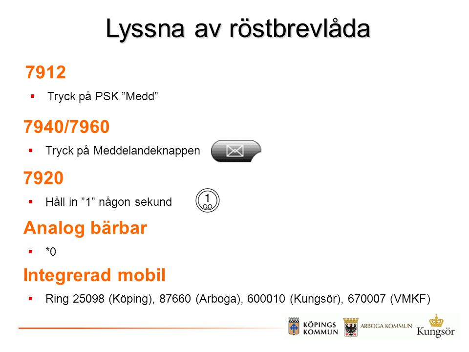 """Lyssna av röstbrevlåda 7912  Tryck på PSK """"Medd"""" 7940/7960  Tryck på Meddelandeknappen Analog bärbar  *0 Integrerad mobil  Ring 25098 (Köping), 87"""
