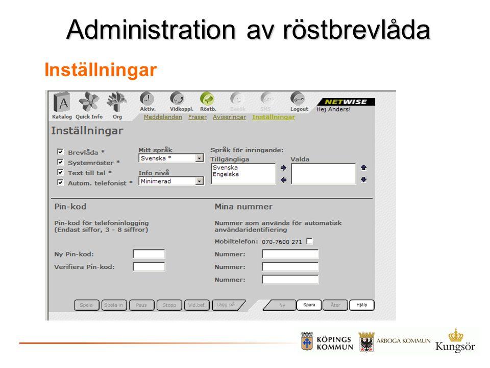 Administration av röstbrevlåda Inställningar