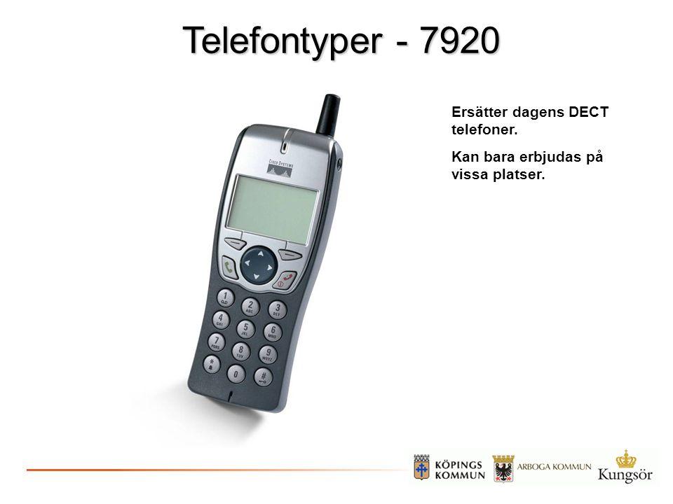 Telefontyper - 7920 Ersätter dagens DECT telefoner. Kan bara erbjudas på vissa platser.