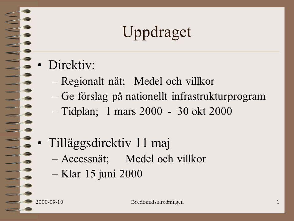 2000-09-10Bredbandsutredningen12 PRELIMINÄR!.