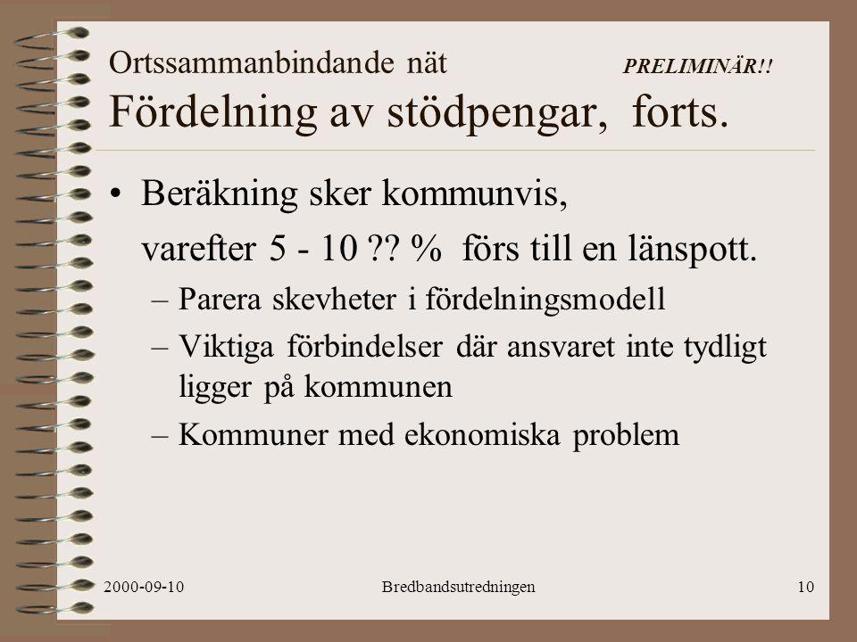 2000-09-10Bredbandsutredningen10 Ortssammanbindande nät PRELIMINÄR!.
