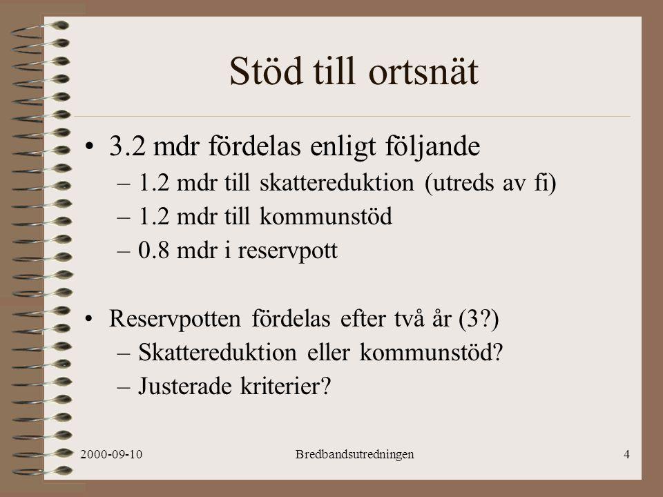 2000-09-10Bredbandsutredningen4 Stöd till ortsnät 3.2 mdr fördelas enligt följande –1.2 mdr till skattereduktion (utreds av fi) –1.2 mdr till kommunstöd –0.8 mdr i reservpott Reservpotten fördelas efter två år (3 ) –Skattereduktion eller kommunstöd.