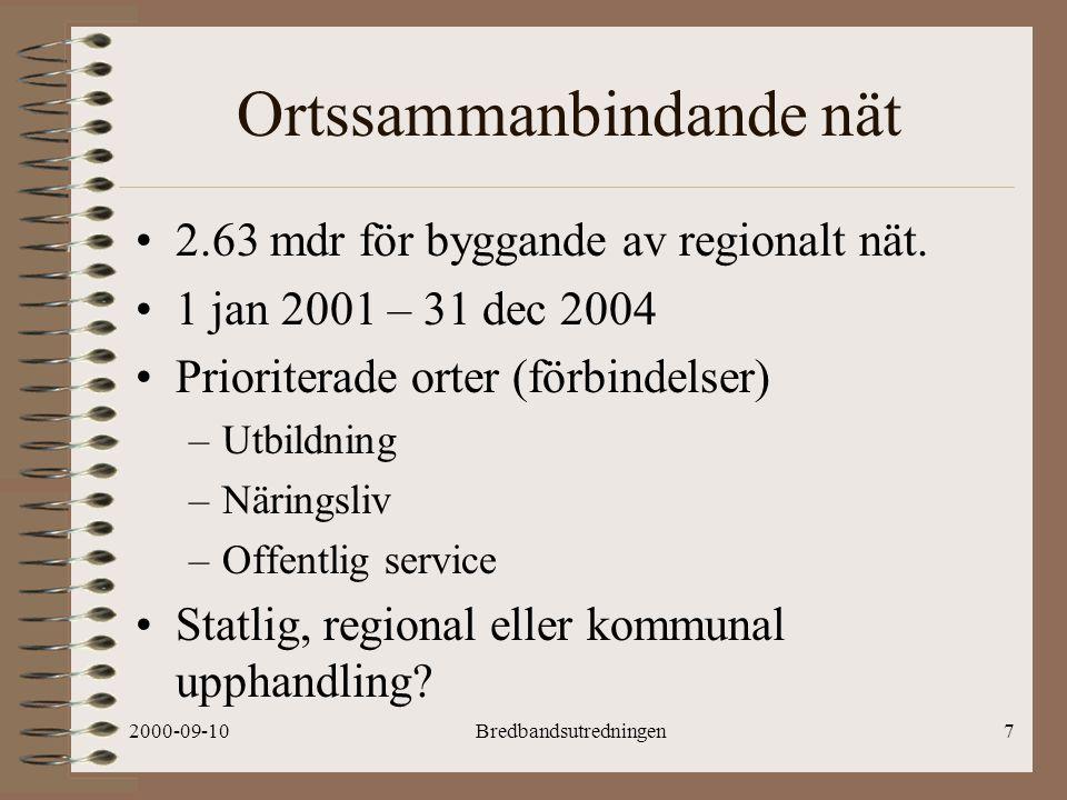 2000-09-10Bredbandsutredningen7 Ortssammanbindande nät 2.63 mdr för byggande av regionalt nät.