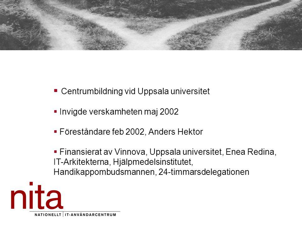  Centrumbildning vid Uppsala universitet  Invigde verskamheten maj 2002  Föreståndare feb 2002, Anders Hektor  Finansierat av Vinnova, Uppsala universitet, Enea Redina, IT-Arkitekterna, Hjälpmedelsinstitutet, Handikappombudsmannen, 24-timmarsdelegationen