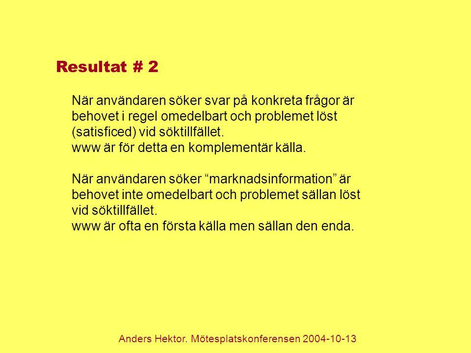 Anders Hektor. Mötesplatskonferensen 2004-10-13 Resultat # 2 När användaren söker svar på konkreta frågor är behovet i regel omedelbart och problemet