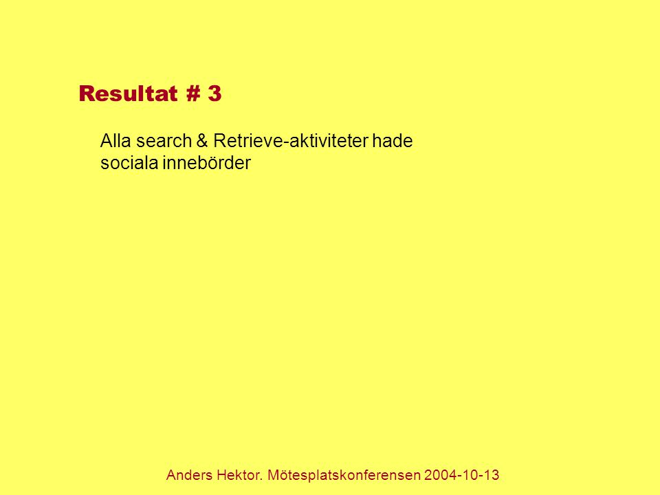 Anders Hektor. Mötesplatskonferensen 2004-10-13 Resultat # 3 Alla search & Retrieve-aktiviteter hade sociala innebörder