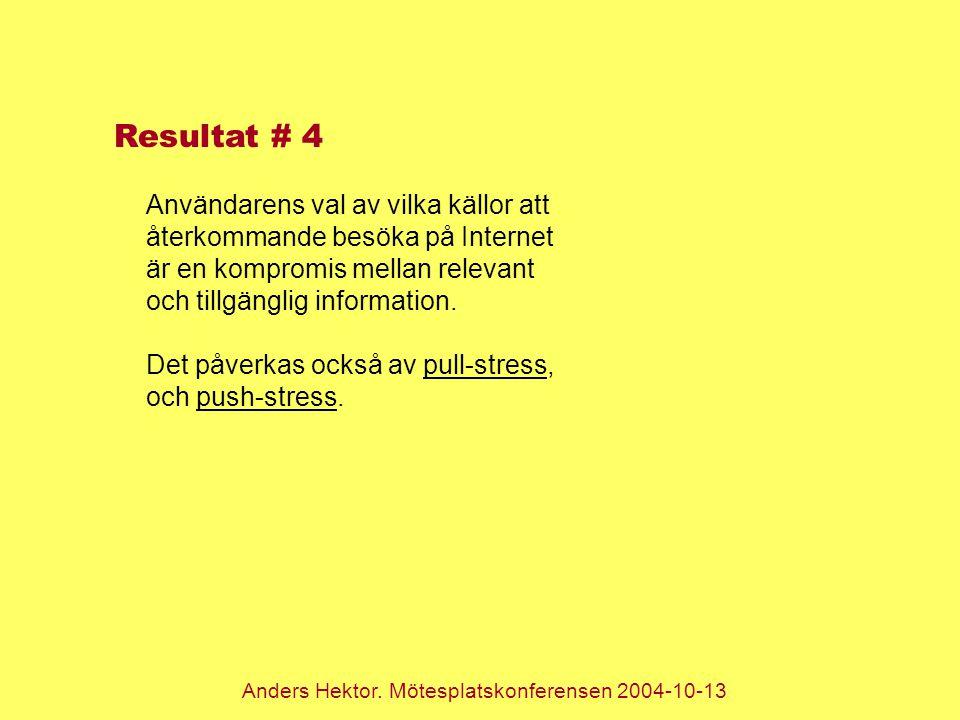 Anders Hektor. Mötesplatskonferensen 2004-10-13 Resultat # 4 Användarens val av vilka källor att återkommande besöka på Internet är en kompromis mella