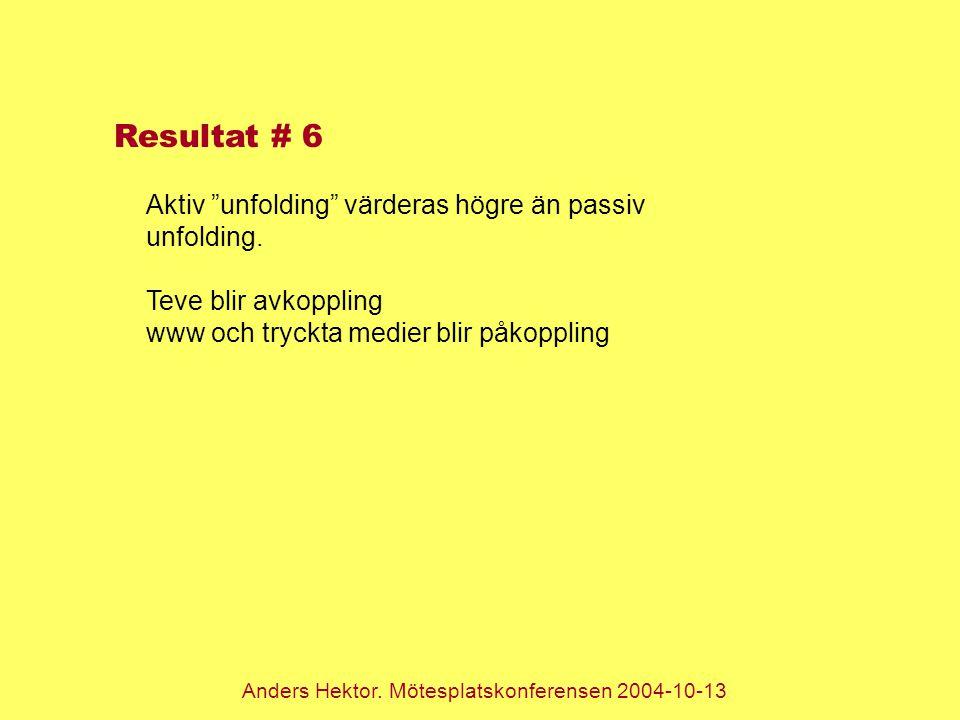 """Anders Hektor. Mötesplatskonferensen 2004-10-13 Resultat # 6 Aktiv """"unfolding"""" värderas högre än passiv unfolding. Teve blir avkoppling www och tryckt"""
