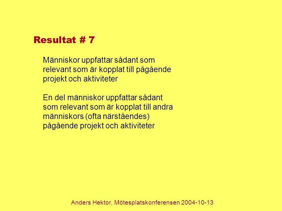 Anders Hektor. Mötesplatskonferensen 2004-10-13 Resultat # 7 Människor uppfattar sådant som relevant som är kopplat till pågående projekt och aktivite