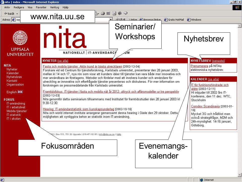 www.nita.uu.se Seminarier/ Workshops Nyhetsbrev Fokusområden Evenemangs- kalender