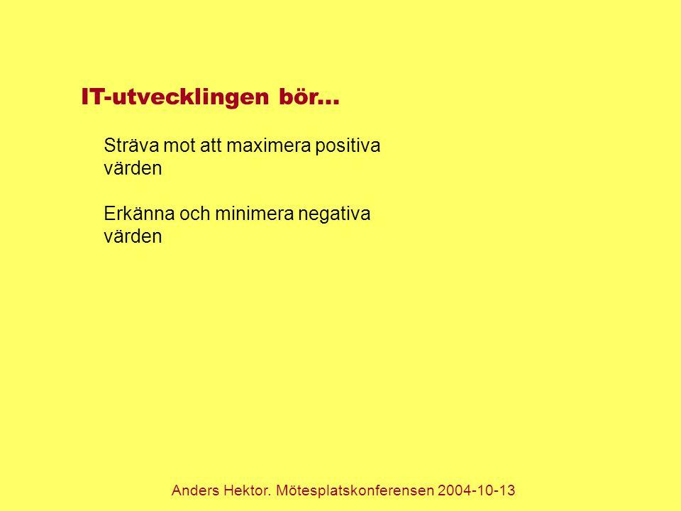 Anders Hektor. Mötesplatskonferensen 2004-10-13 IT-utvecklingen bör... Sträva mot att maximera positiva värden Erkänna och minimera negativa värden