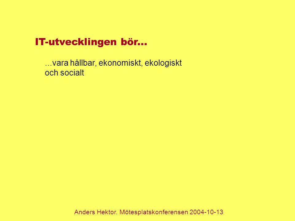 Anders Hektor. Mötesplatskonferensen 2004-10-13 IT-utvecklingen bör......vara hållbar, ekonomiskt, ekologiskt och socialt