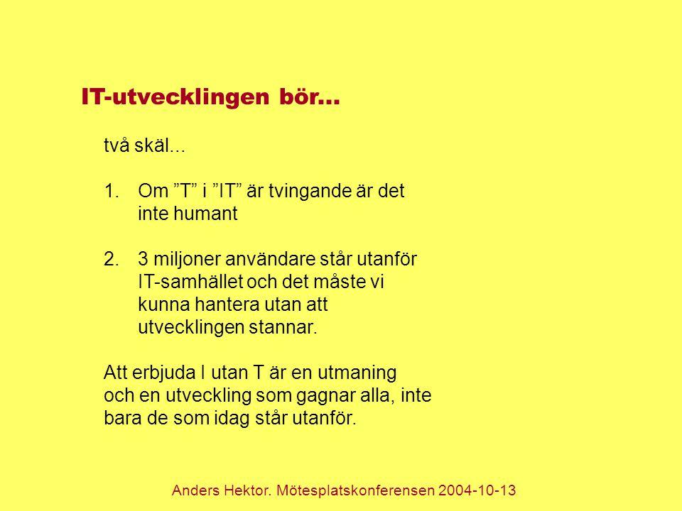 """Anders Hektor. Mötesplatskonferensen 2004-10-13 IT-utvecklingen bör... två skäl... 1.Om """"T"""" i """"IT"""" är tvingande är det inte humant 2.3 miljoner använd"""