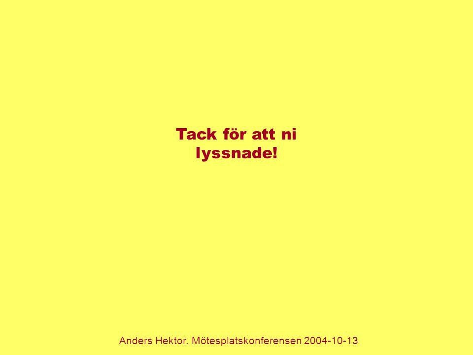 Anders Hektor. Mötesplatskonferensen 2004-10-13 Tack för att ni lyssnade!
