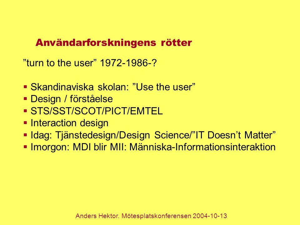 """Anders Hektor. Mötesplatskonferensen 2004-10-13 Användarforskningens rötter """"turn to the user"""" 1972-1986-?  Skandinaviska skolan: """"Use the user""""  De"""