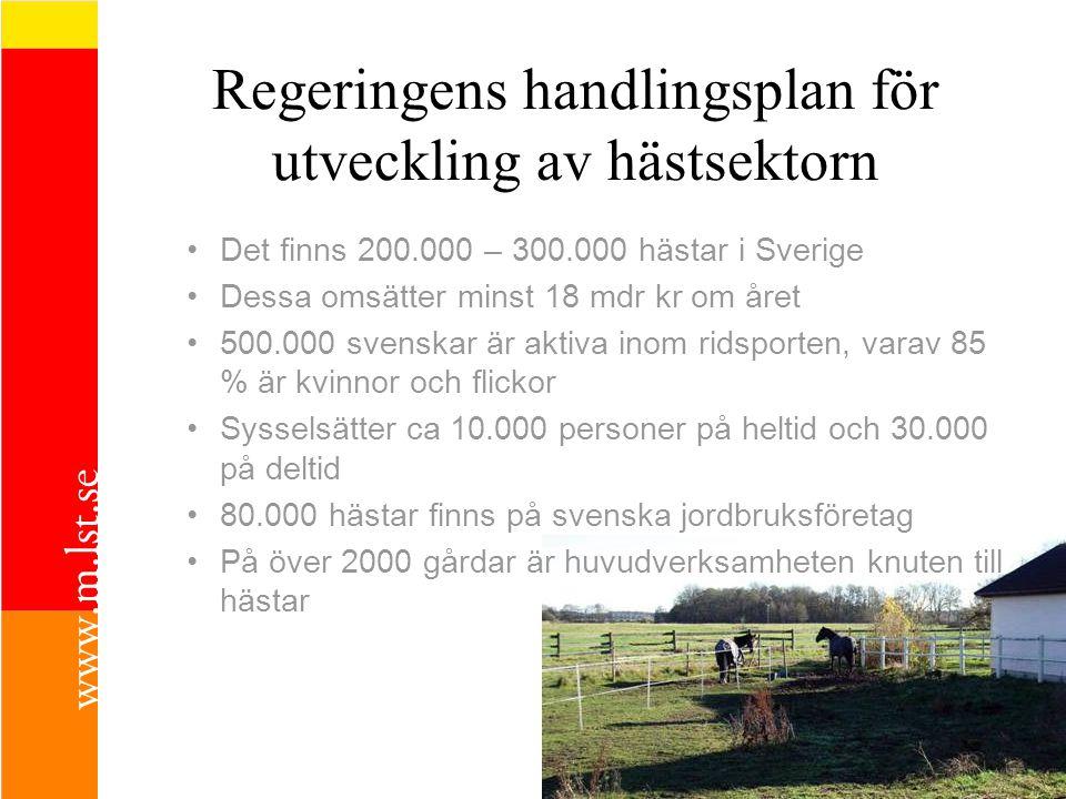 Regeringens handlingsplan för utveckling av hästsektorn Det finns 200.000 – 300.000 hästar i Sverige Dessa omsätter minst 18 mdr kr om året 500.000 svenskar är aktiva inom ridsporten, varav 85 % är kvinnor och flickor Sysselsätter ca 10.000 personer på heltid och 30.000 på deltid 80.000 hästar finns på svenska jordbruksföretag På över 2000 gårdar är huvudverksamheten knuten till hästar