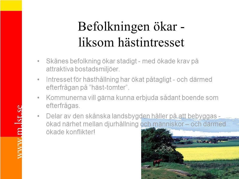Befolkningen ökar - liksom hästintresset Skånes befolkning ökar stadigt - med ökade krav på attraktiva bostadsmiljöer.