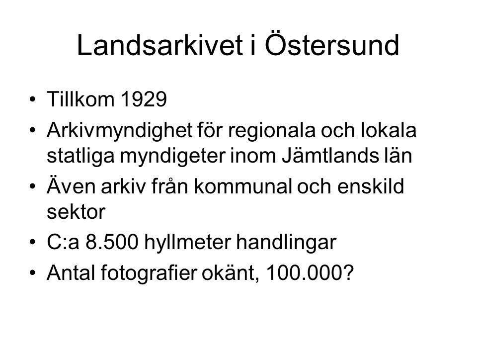 Tillkom 1929 Arkivmyndighet för regionala och lokala statliga myndigeter inom Jämtlands län Även arkiv från kommunal och enskild sektor C:a 8.500 hyllmeter handlingar Antal fotografier okänt, 100.000
