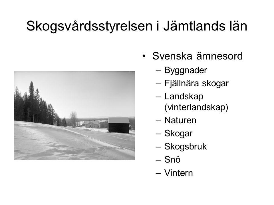 Skogsvårdsstyrelsen i Jämtlands län Svenska ämnesord –Byggnader –Fjällnära skogar –Landskap (vinterlandskap) –Naturen –Skogar –Skogsbruk –Snö –Vintern