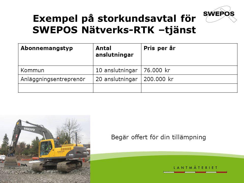 Exempel på storkundsavtal för SWEPOS Nätverks-RTK –tjänst AbonnemangstypAntal anslutningar Pris per år Kommun10 anslutningar76.000 kr Anläggningsentreprenör20 anslutningar200.000 kr Begär offert för din tillämpning