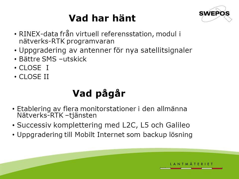 Vad har hänt RINEX-data från virtuell referensstation, modul i nätverks-RTK programvaran Uppgradering av antenner för nya satellitsignaler Bättre SMS –utskick CLOSE I CLOSE II Vad pågår Etablering av flera monitorstationer i den allmänna Nätverks-RTK –tjänsten Successiv komplettering med L2C, L5 och Galileo Uppgradering till Mobilt Internet som backup lösning