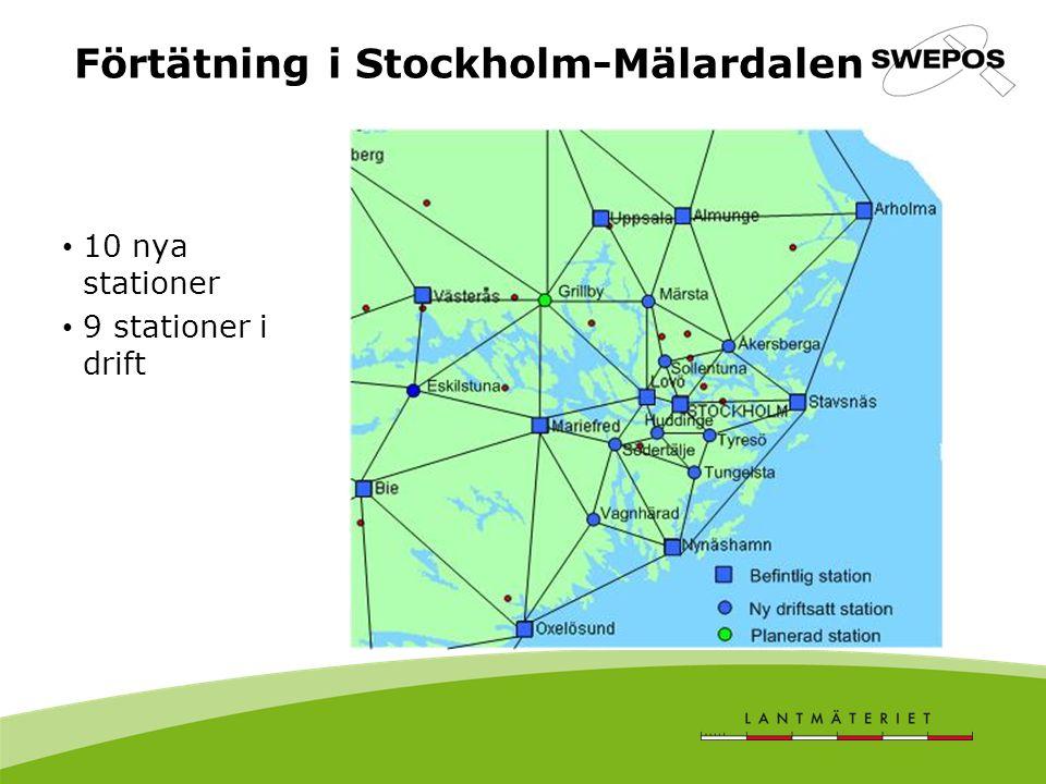 Förtätning i Stockholm-Mälardalen 10 nya stationer 9 stationer i drift