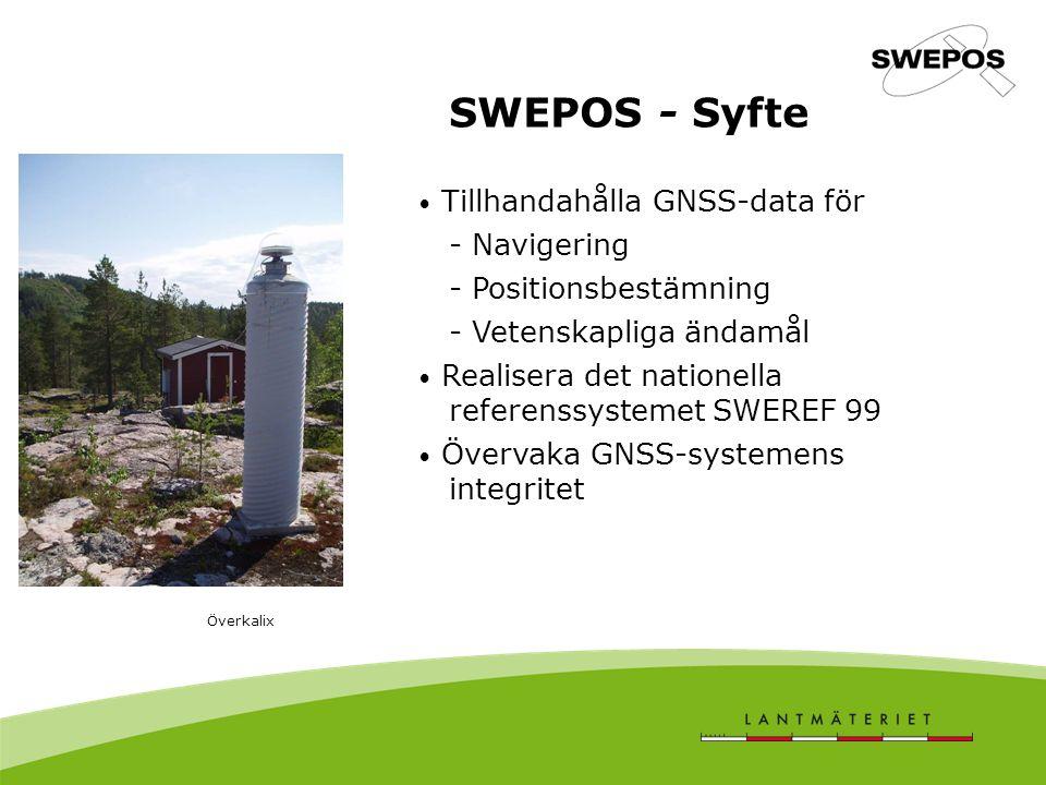 SWEPOS - Syfte Tillhandahålla GNSS-data för - Navigering - Positionsbestämning - Vetenskapliga ändamål Realisera det nationella referenssystemet SWEREF 99 Övervaka GNSS-systemens integritet Överkalix