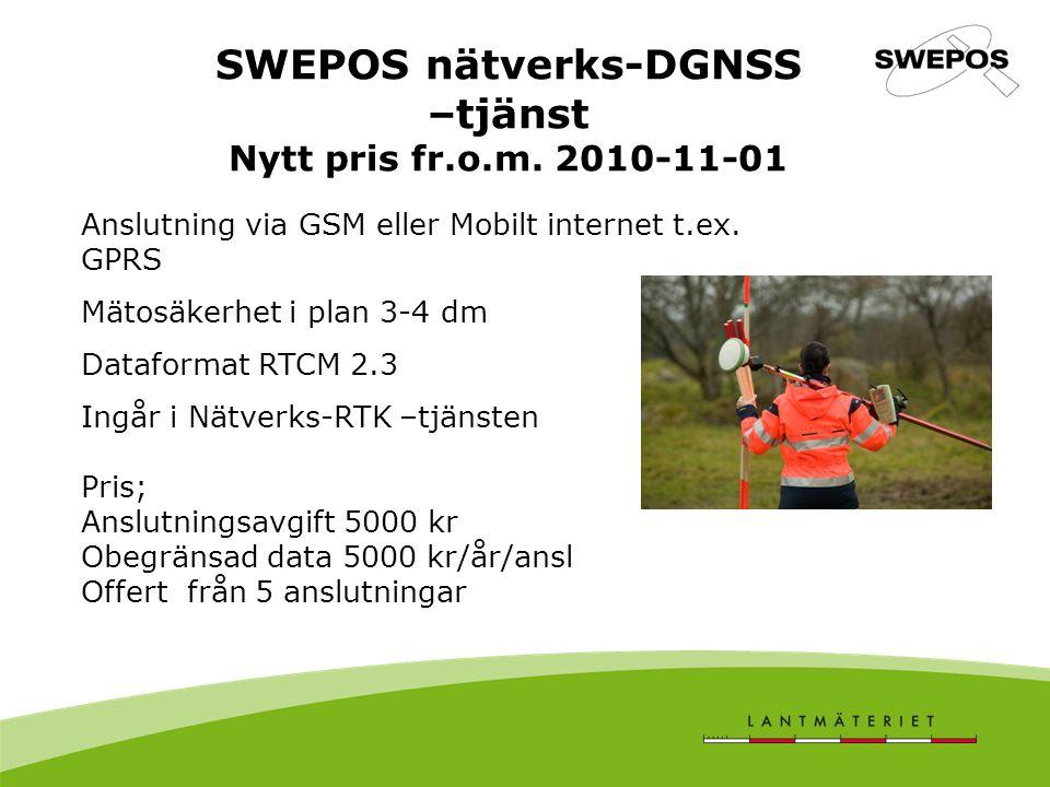 SWEPOS nätverks-DGNSS –tjänst Nytt pris fr.o.m.