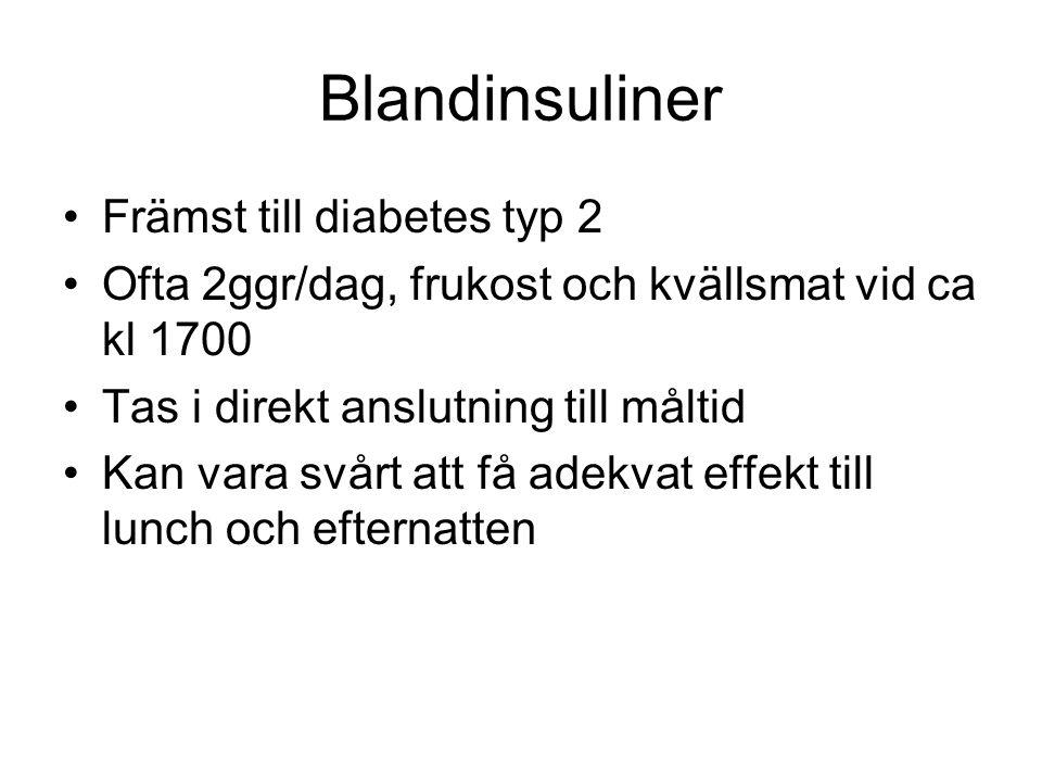 Blandinsuliner Främst till diabetes typ 2 Ofta 2ggr/dag, frukost och kvällsmat vid ca kl 1700 Tas i direkt anslutning till måltid Kan vara svårt att f