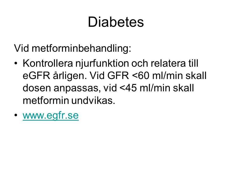 Diabetes Vid metforminbehandling: Kontrollera njurfunktion och relatera till eGFR årligen. Vid GFR <60 ml/min skall dosen anpassas, vid <45 ml/min ska