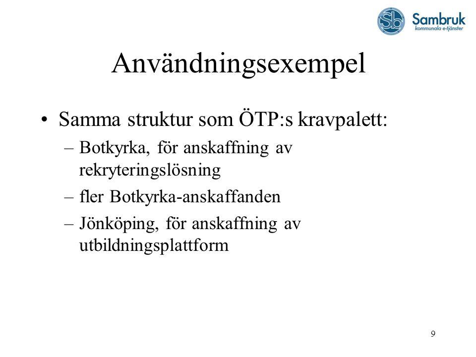 9 Användningsexempel Samma struktur som ÖTP:s kravpalett: –Botkyrka, för anskaffning av rekryteringslösning –fler Botkyrka-anskaffanden –Jönköping, för anskaffning av utbildningsplattform