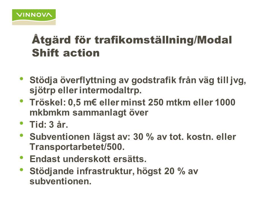 Åtgärd för trafikomställning/Modal Shift action Stödja överflyttning av godstrafik från väg till jvg, sjötrp eller intermodaltrp. Tröskel: 0,5 m€ elle