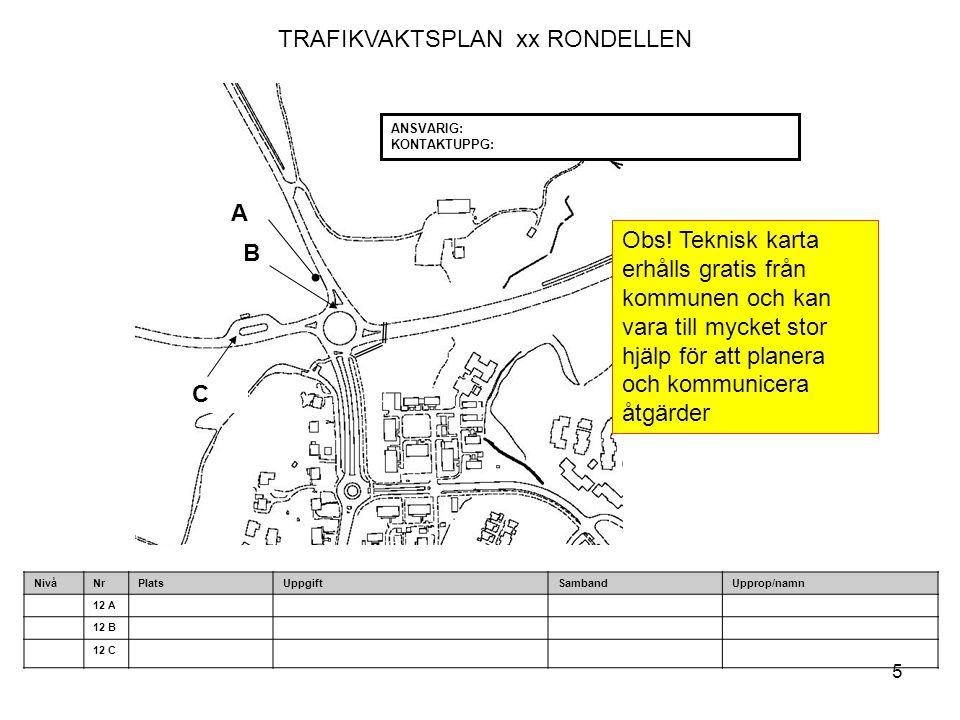 5 TRAFIKVAKTSPLAN xx RONDELLEN C B A ANSVARIG: KONTAKTUPPG: NivåNrPlatsUppgiftSambandUpprop/namn 12 A 12 B 12 C Obs! Teknisk karta erhålls gratis från