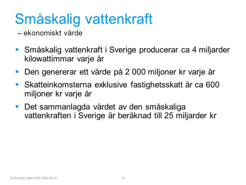 Småskalig vattenkraft. 2009-09-21 12 Småskalig vattenkraft – ekonomiskt värde  Småskalig vattenkraft i Sverige producerar ca 4 miljarder kilowattimma